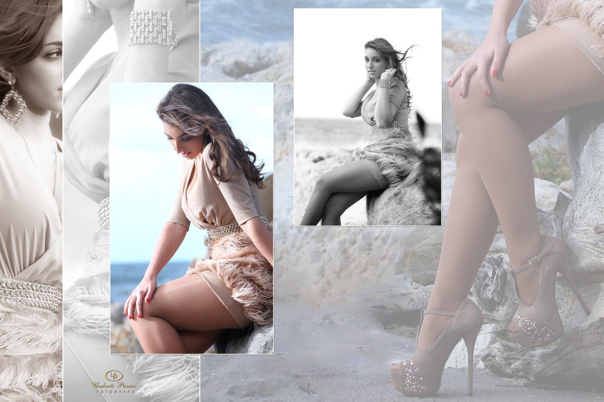 ragazza seduta su scoglio in riva al mare
