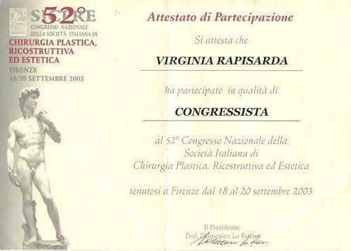 attestato di partecipazione Virginia Rapisarda