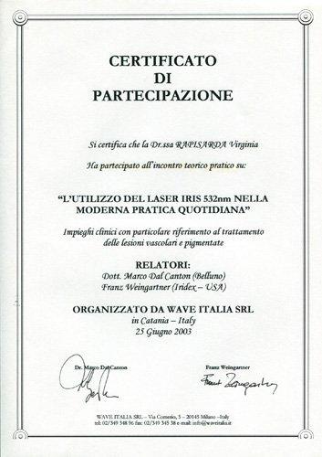 certificato di partecipazione `l`utilizzo del laser IRIS nella moderna pratica quotidiana`