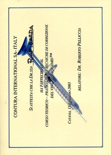 certificato di partecipazione alle tecniche di correzzione del viso