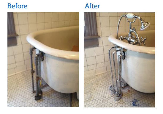 Before and after image of clawfoot tub faucet in Lexington, KY