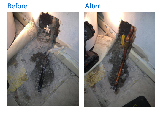 Before and after view of the water leak repaired in Lexington, KY