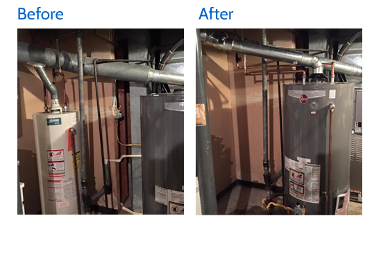 Before and after view of the the gas water heater relocation in Lexington, KY