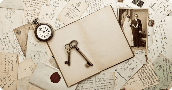 Letters, photographs and keys