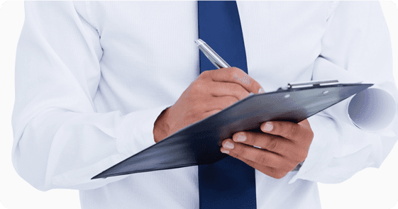 An estimator marking a clipboard