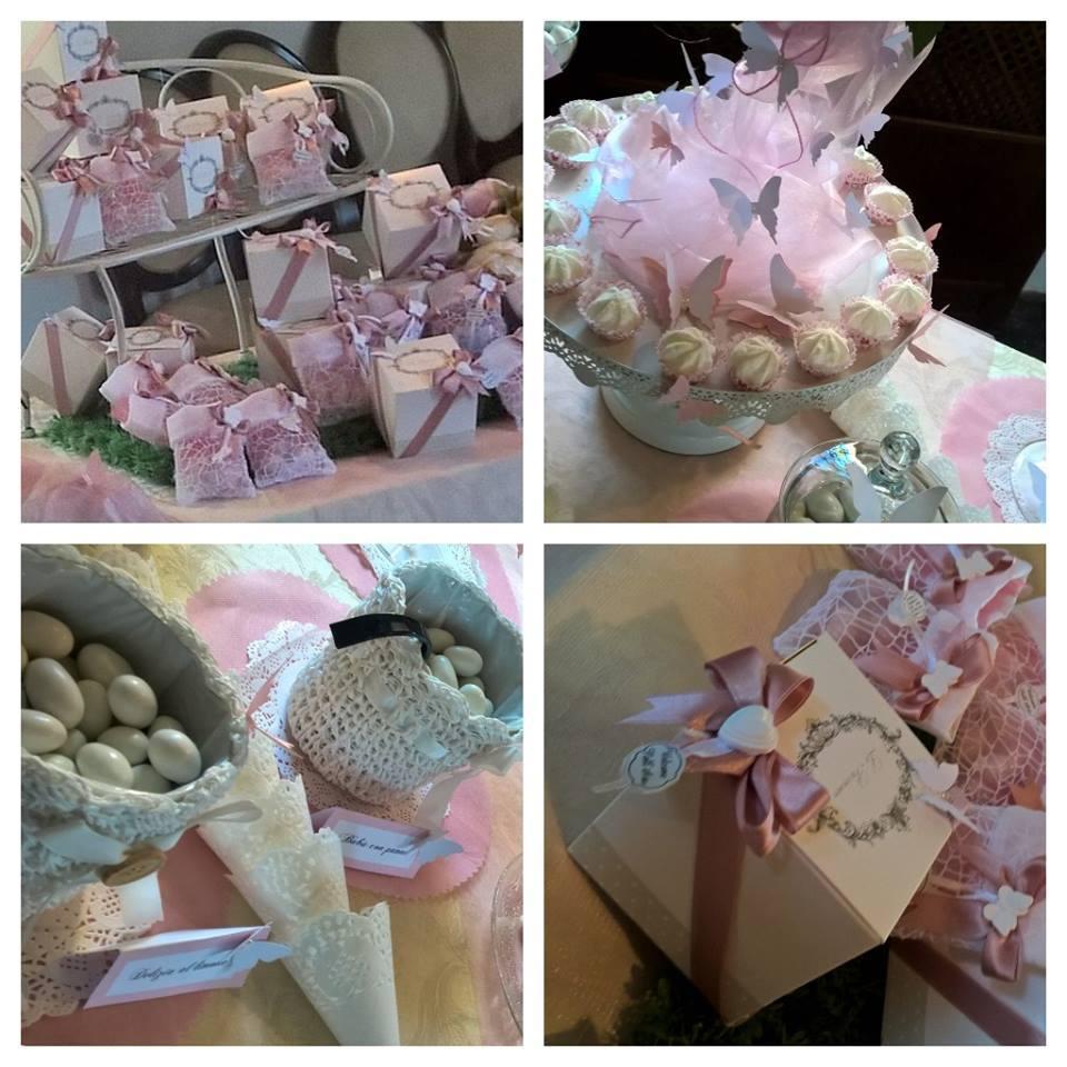 bomboniere e confetti rosa e bianco perla