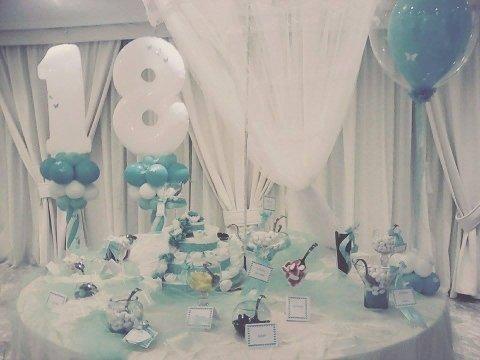 tavolo con confetti decorato per diciottesimo compleanno