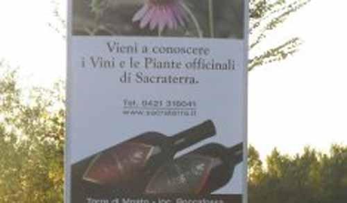 pubblicita` al vino e piante officinali di Sacraterra