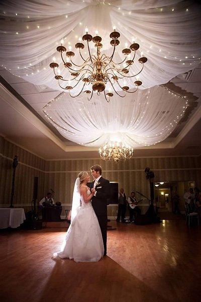 Ballroom with couple dancing.