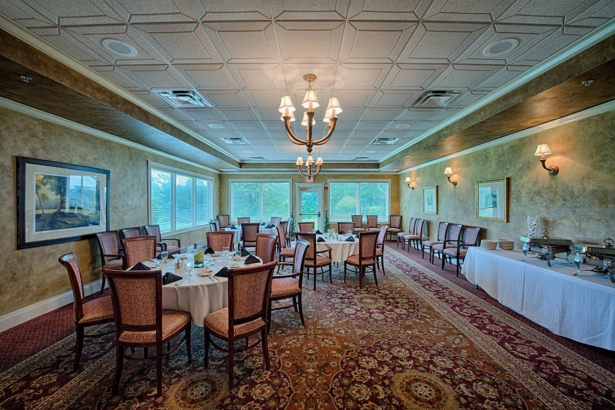Buffet Business Luncheon in a room overlooking golf course.