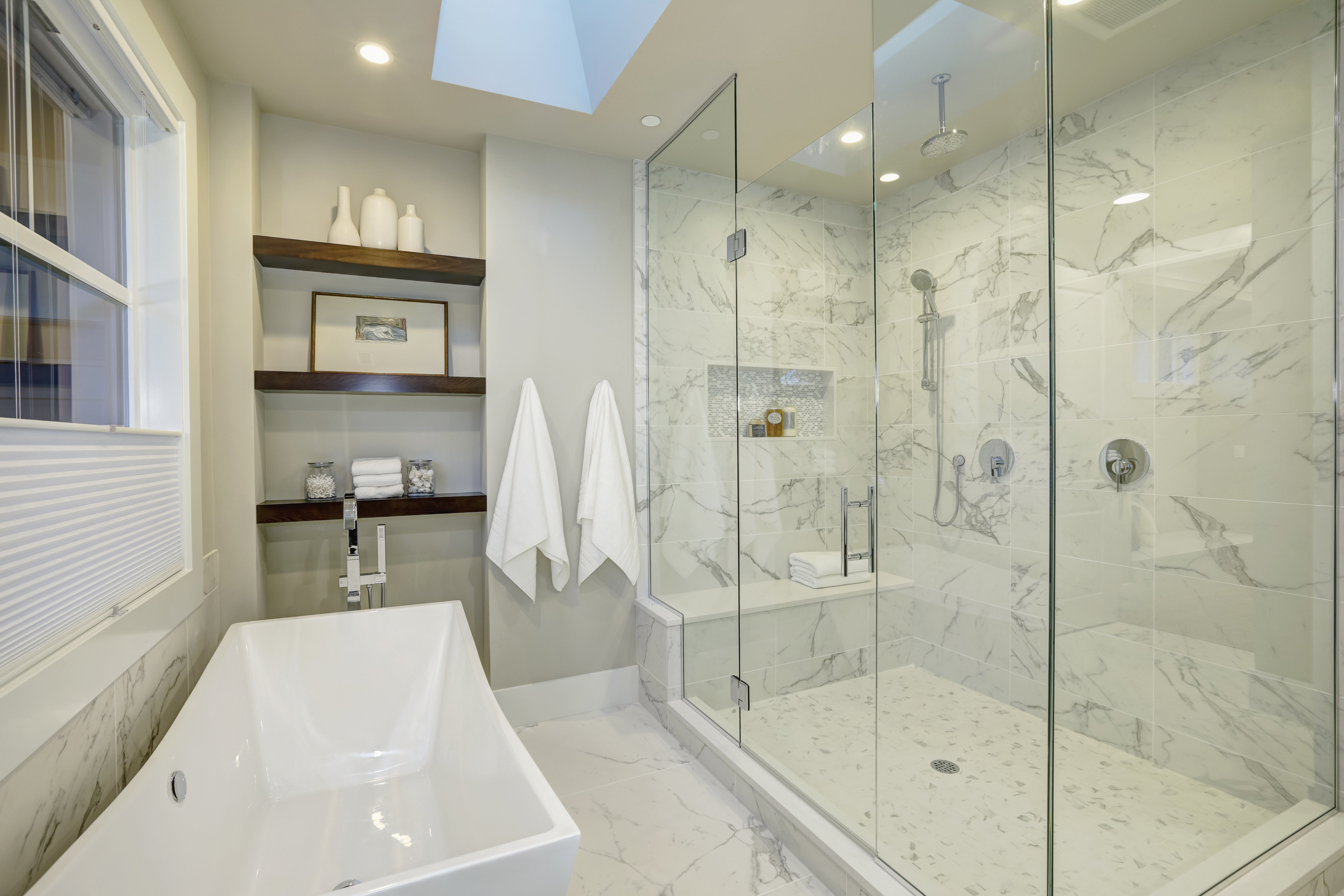 White and gray marble master bathroom