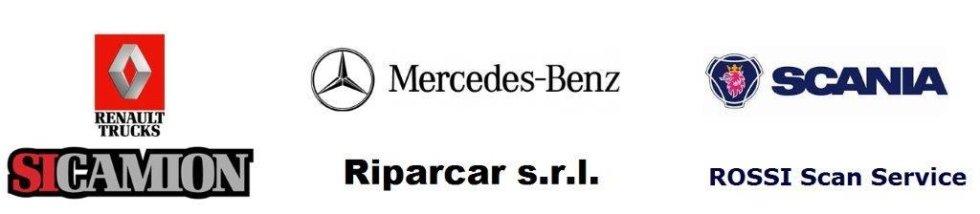 Banner con i nomi di compagnie con cui si lavora: Scania, Renault, Mercedes,Riparcar, SIcamion e Rossi