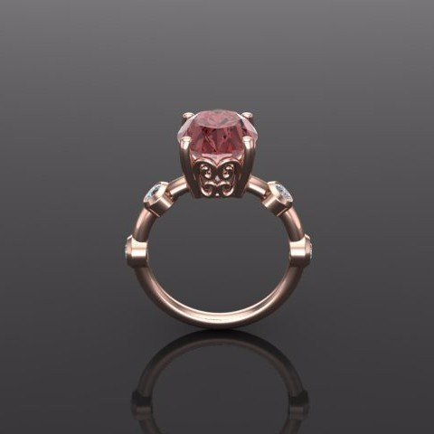 Pink Zircon Diamond and Rose Gold Engagement Ring