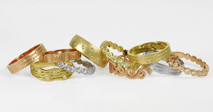 stackable diamond and gold bands