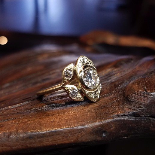 Family Diamond and Yellow Gold Hand Engraved Engagement Ring