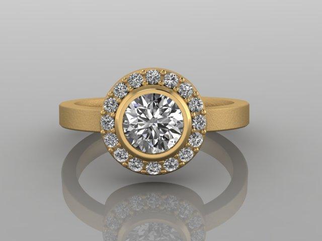 Diamond Halo Yellow Gold Engagement Ring