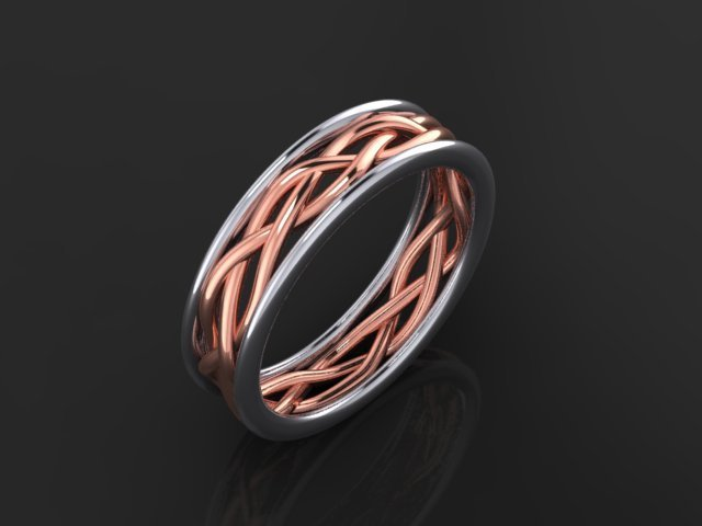 Rose and White Gold Braided Band