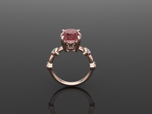 Pink Zircon, Diamond, and Rose Gold Engagement Ring