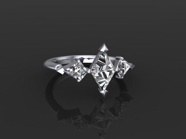 Kite Diamond and Platinum Engagement Ring