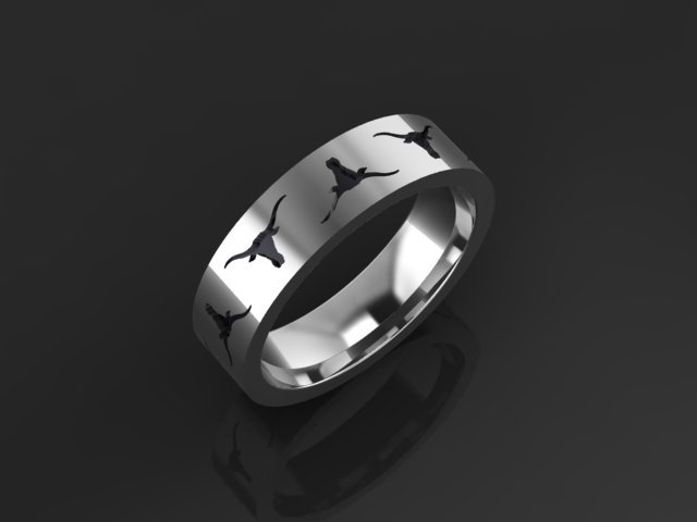Oxidized Sterling Silver Longhorn Band