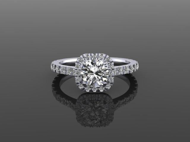 Cushion Diamond Halo White Gold Engagement Ring