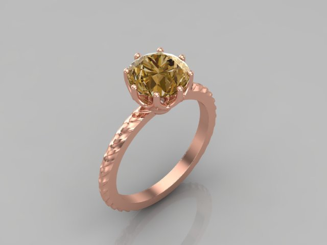 Yellow Brown Sapphire and Rose Gold Ring