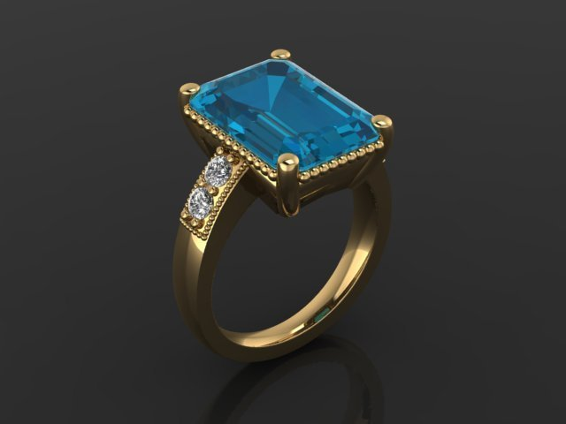 Blue Topaz, Diamond, and Yellow Gold Ring