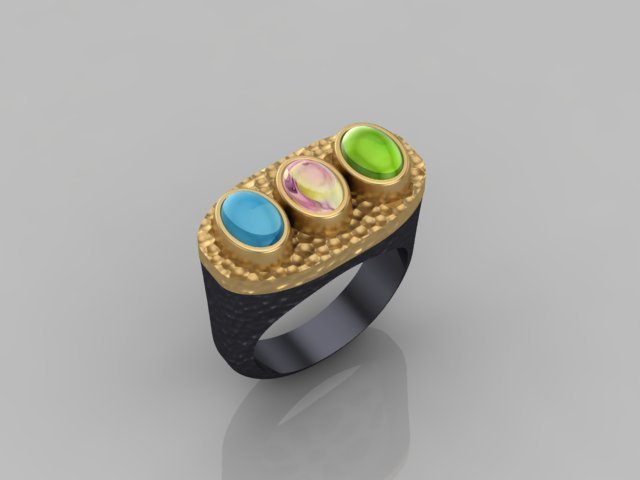 Multi Gemstone, Yellow Gold, and Oxidized Silver Ring