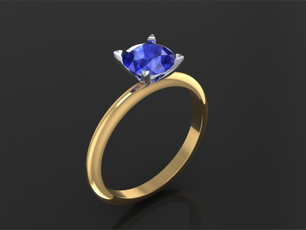 Blue Sapphire Two Tone Solitaire Engagement Ring