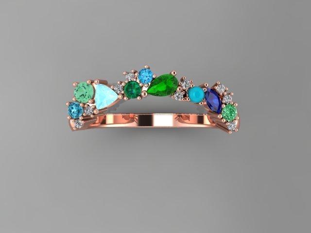 Multi Gemstone, Diamond, and Rose Gold Wedding Band