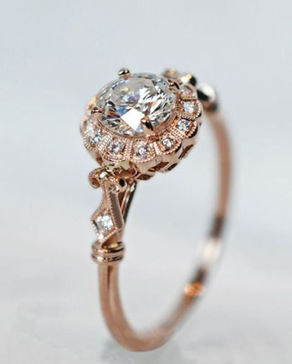 antique style rose gold engagement ring