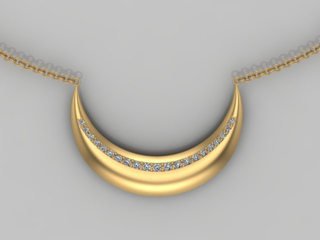 Diamond and Yellow Gold Crescent Moon Pendant