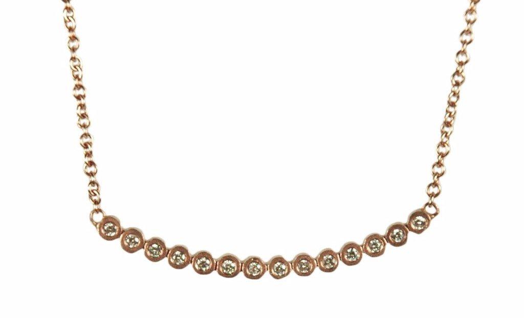 Diamond and Rose Gold Bezel Necklace