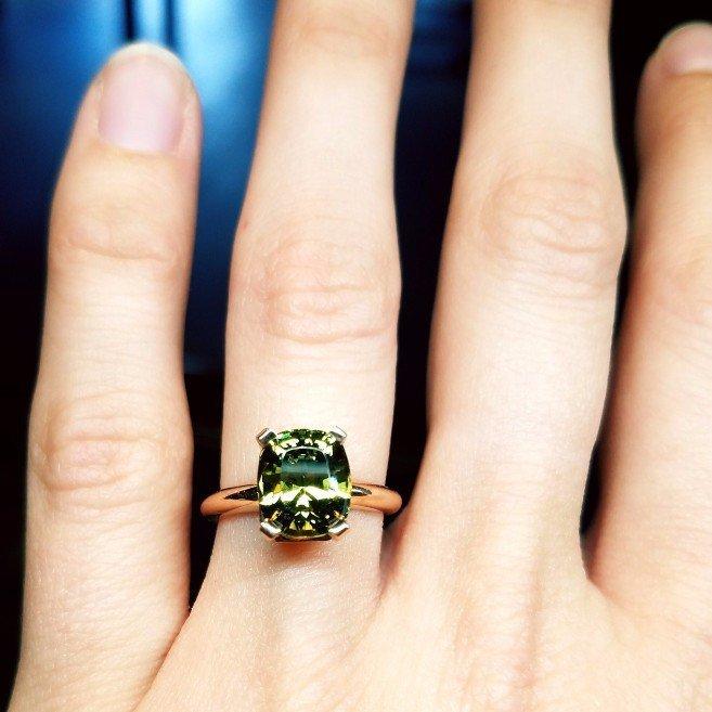 Custom Grandite Garnet and Rose Gold Engagement Ring