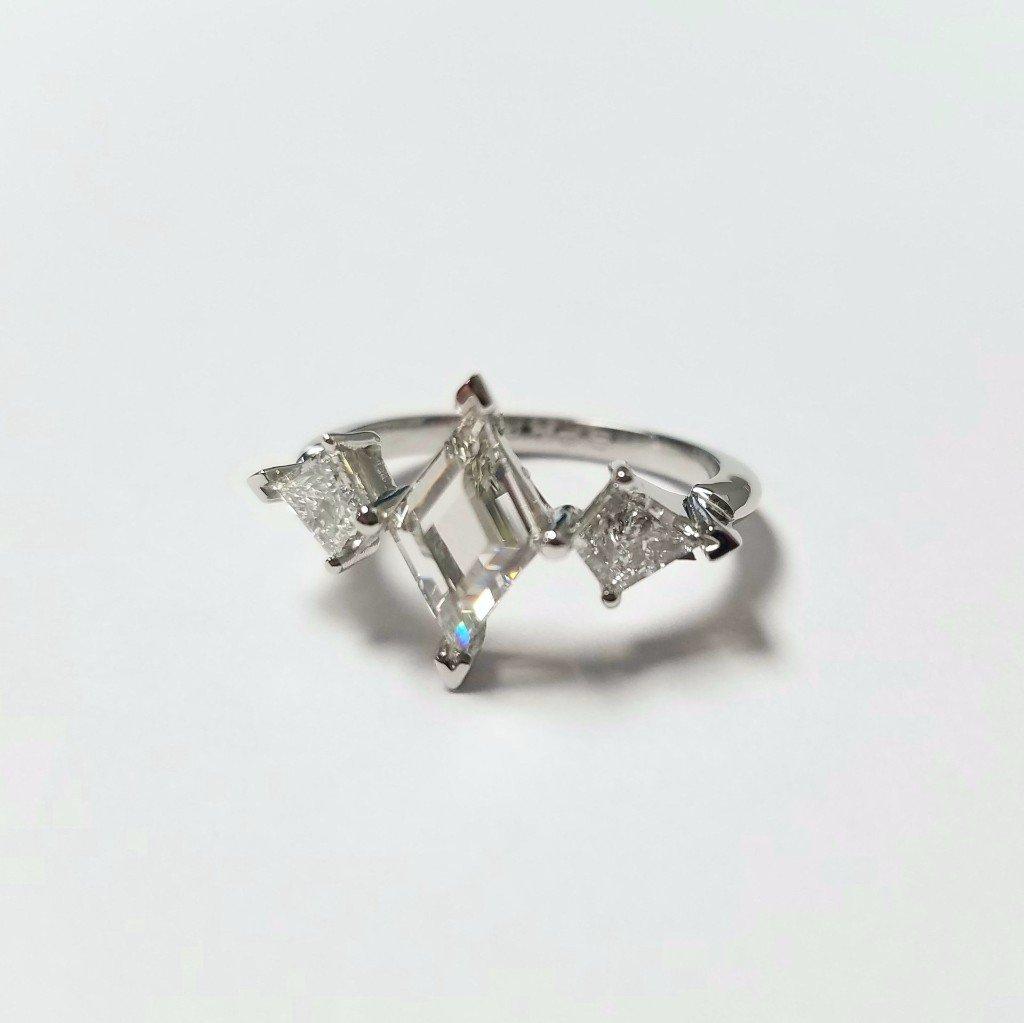Custom Kite Diamond and Platinum Engagement Ring
