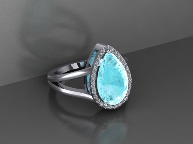 Aquamarine and Diamond Halo White Gold Engagement Ring