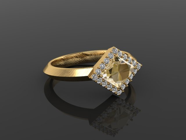 Natural Champagne Kite Diamond Halo Engagement Ring