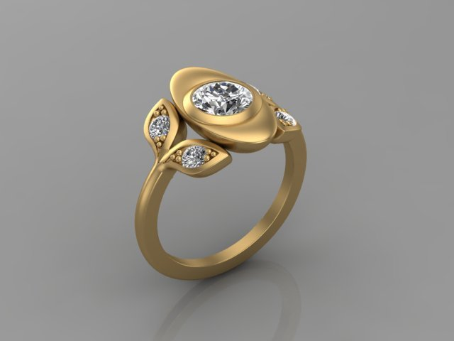 Diamond and Yellow Gold Engagement Ring