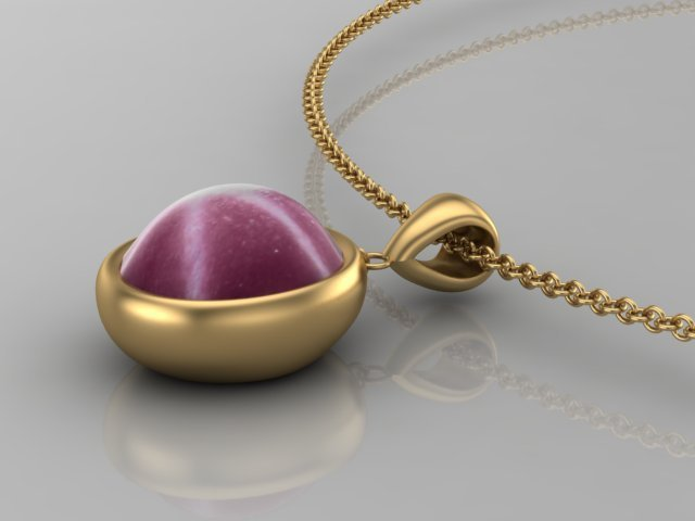 Star Ruby and Yellow Gold Pendant