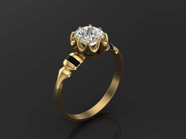 Old Mine Cut Diamond with Black Enamel in Yellow Gold Engagement Ring