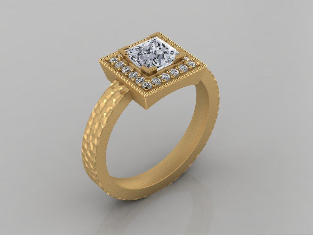 Princess Cut Diamond Halo Yellow Gold Engagement Ring