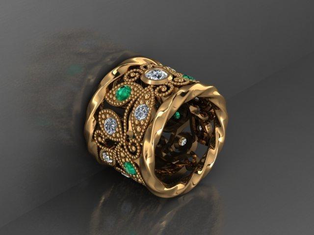 Emerald Diamond and Yellow Gold Band