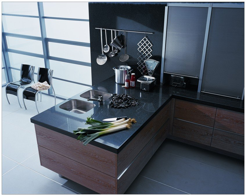 Black colour quartz surface installed on the storage cabinets
