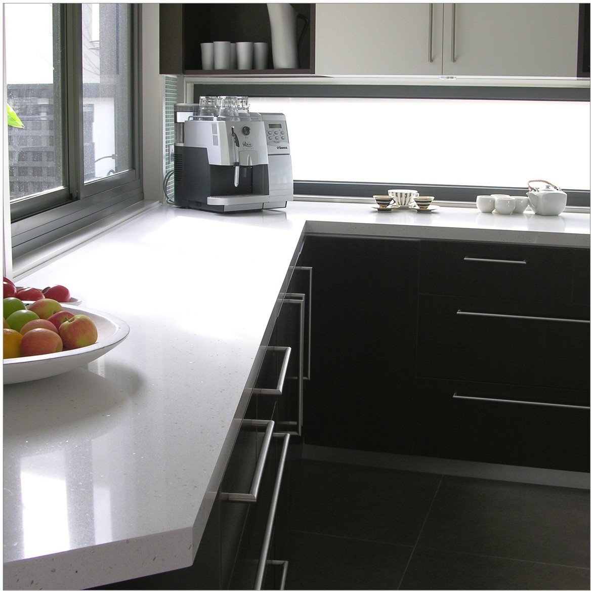 White colour quartz surface installed on the storage cabinets
