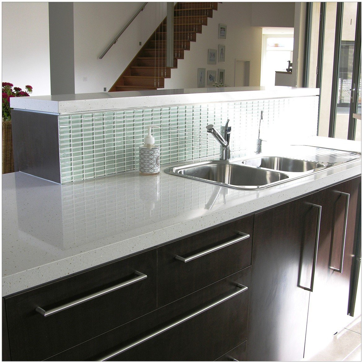 White colour quartz non porous kitchen work surface