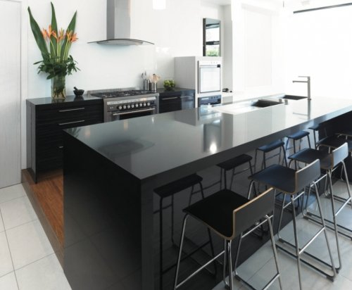 Black colour quartz surface installed in the customer house