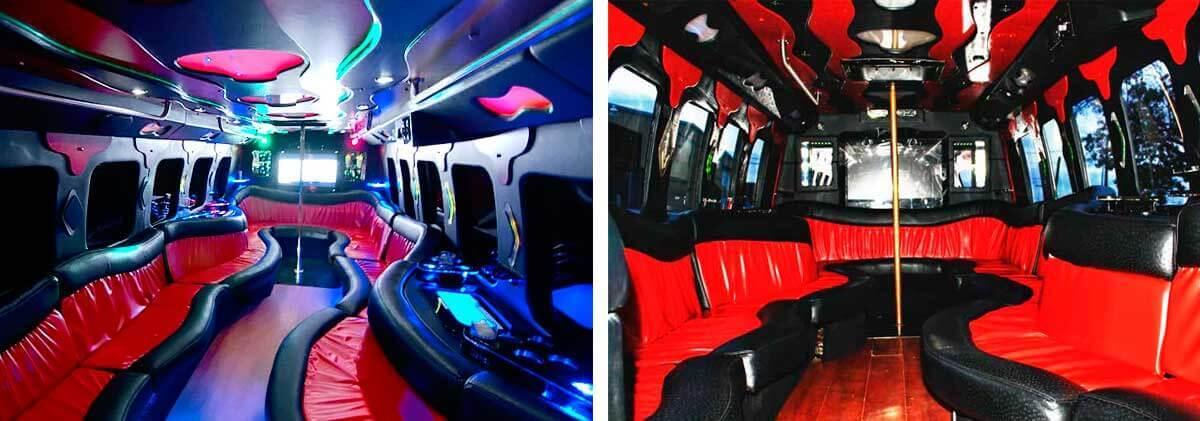 24 Passenger Party Bus Interior Dallas
