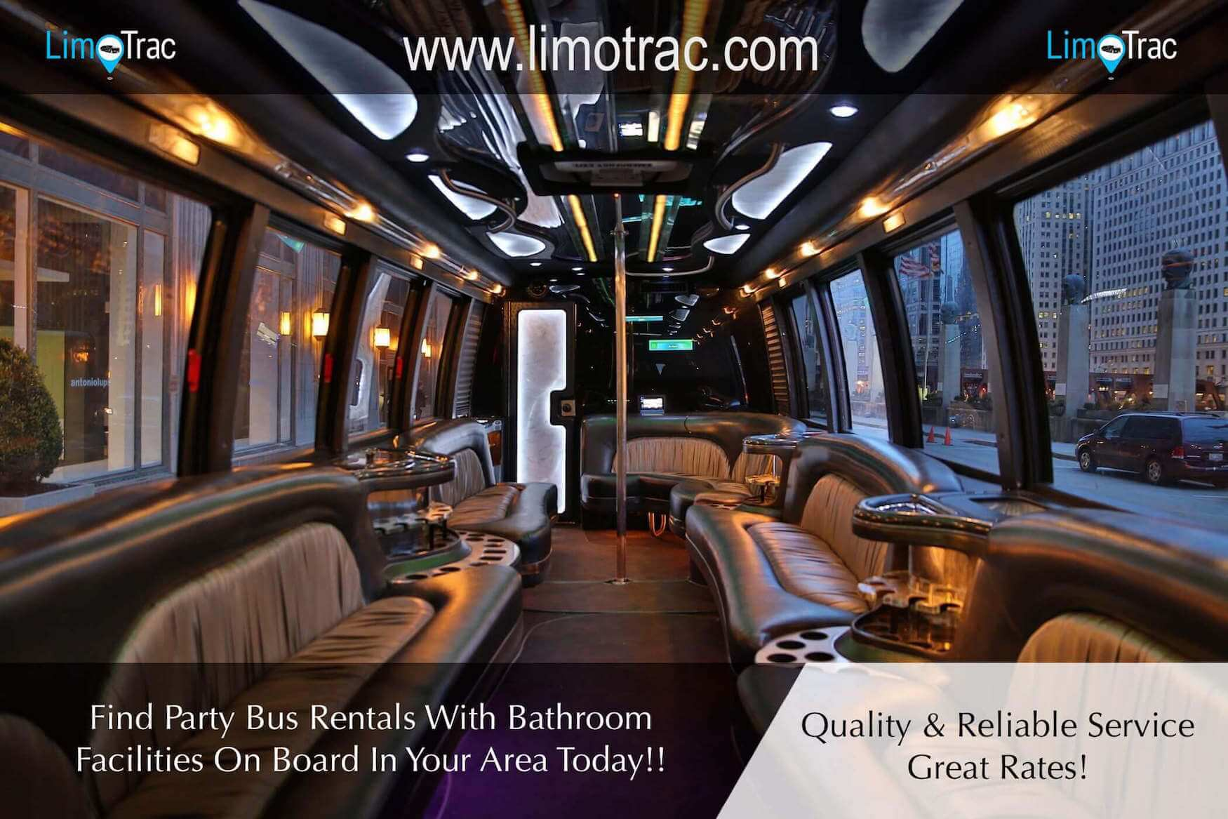 party bus rental dallas texas bathroom on board