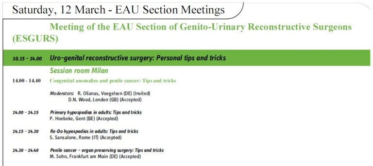 meeting on uro-genital reconstruction