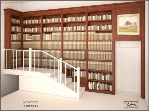 progetto render libreria a parete lato scala